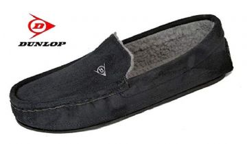 Dunlop  'LEWIS' Moccasin Slippers BLACK